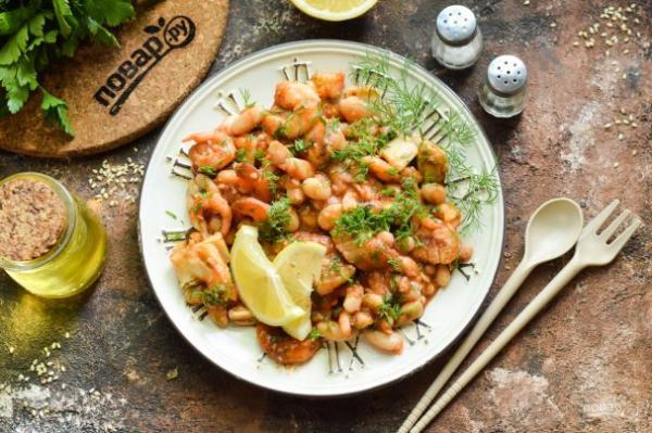 Фасоль с морепродуктами - просто,вкусно - фоторецепт пошагово
