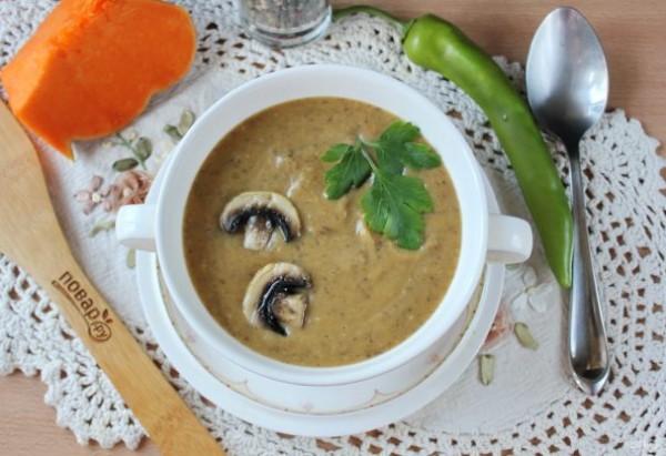 Тыквенный суп-пюре с шампиньонами - просто,вкусно - фоторецепт пошагово
